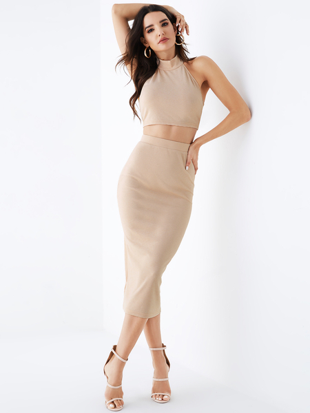 YOINS Nude Halter Sleeveless Two Piece Outfits