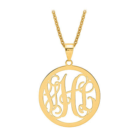 Personalized 43x32mm Circle Monogram Pendant Necklace, One Size , Yellow