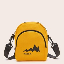 Letter Graphic Pocket Front Crossbody Bag