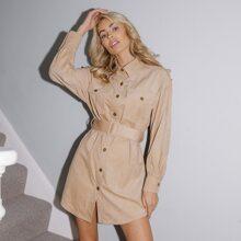 Cord Shirt Kleid mit Taschen Klappen vorn, Schnalle und Guertel
