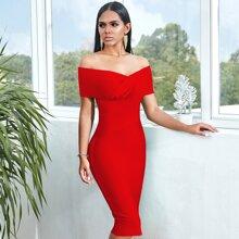 Adyce schulterfreies figurbetontes Kleid mit Reissverschluss hintne