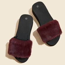 Open Toe Minimalist Fluffy Slippers