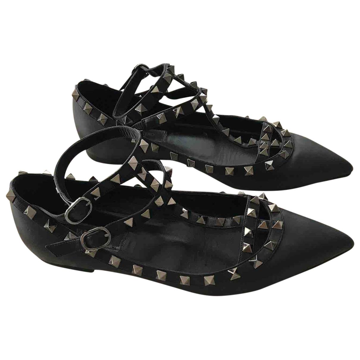 Valentino Garavani - Ballerines Rockstud pour femme en cuir - noir