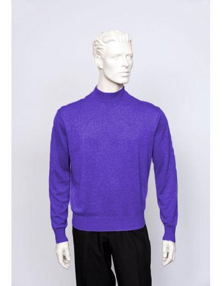 Mens Silk Blend Brighton Long Sleeve Mock Neck Fine Gauge Knit Sweater