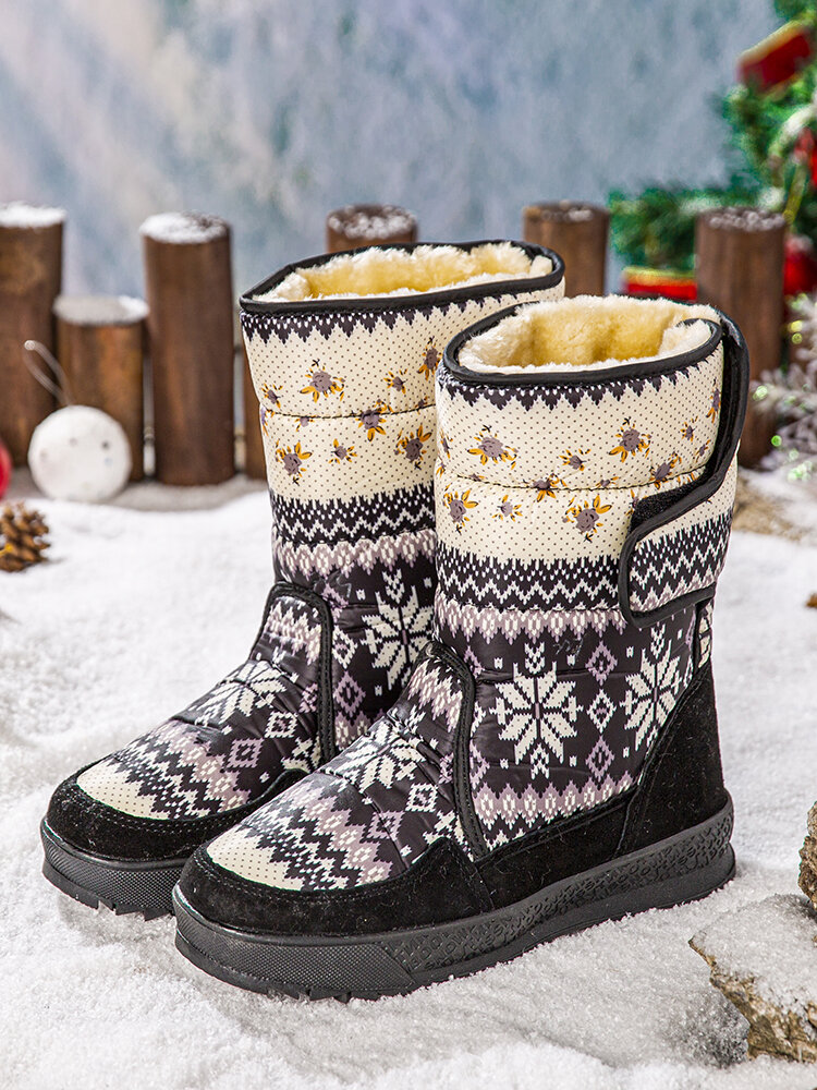 SOCOFY Pattern Cloth Comfy Warm Non Slip Wearable Mid-calf Winter Snow Boots