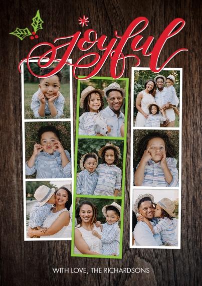 Christmas Photo Cards 5x7 Cards, Premium Cardstock 120lb with Scalloped Corners, Card & Stationery -Christmas Joyful Snapshots by Tumbalina