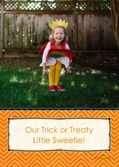 Halloween Photo Cards 5x7 Cards, Premium Cardstock 120lb with Scalloped Corners, Card & Stationery -Our Trick or Treaty Sweetie