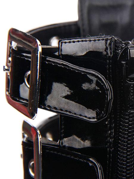 Milanoo Gothic Lolita Sandal Grommet Buckle Platform Glazed PU Black Lolita Shoes