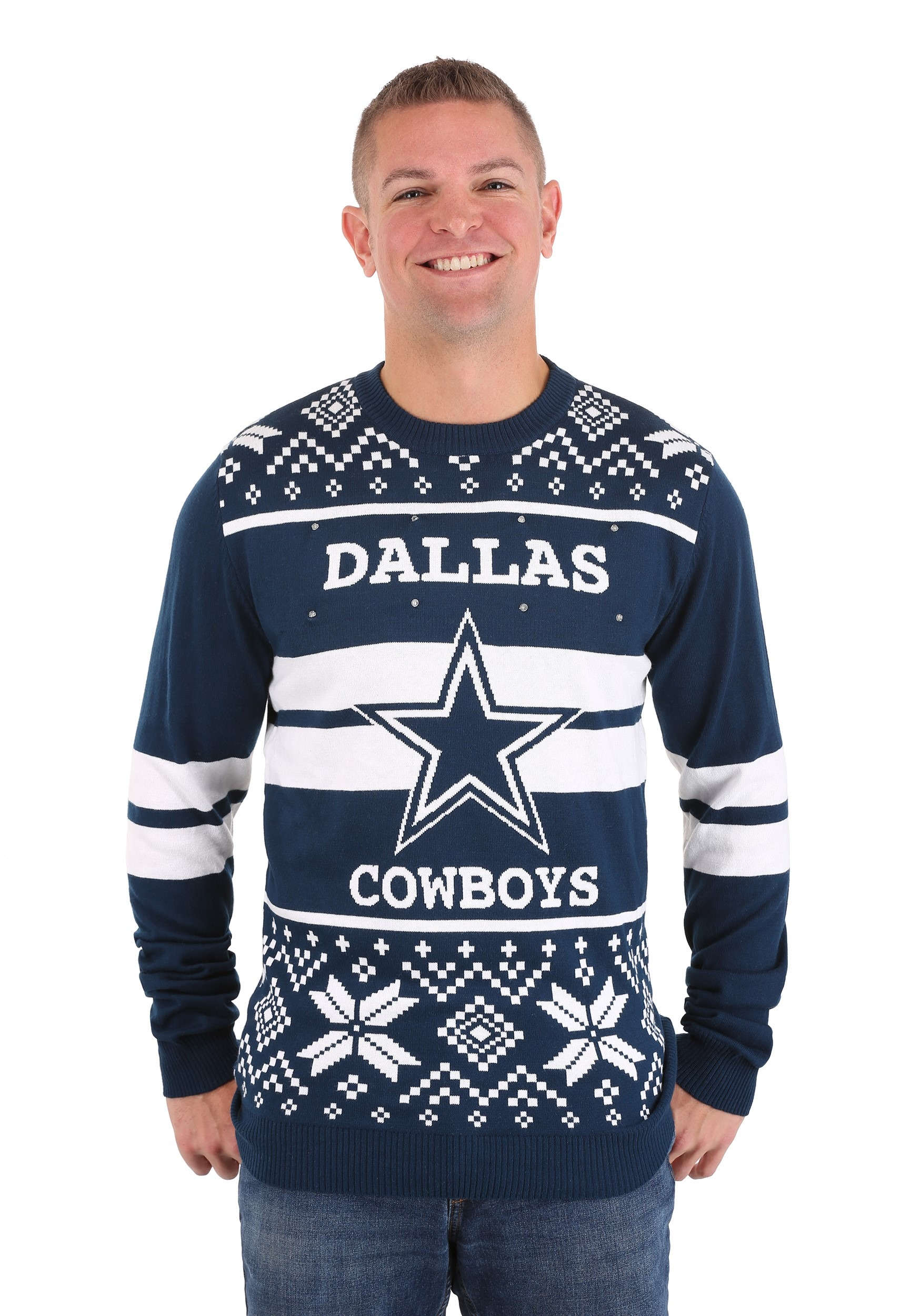 Dallas Cowboys Two Stripe Big Logo Light Up Sweater