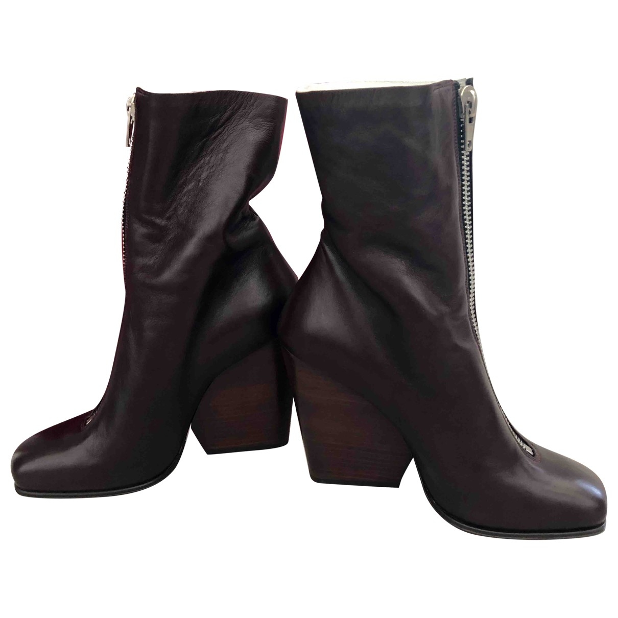 Celine \N Burgundy Leather Ankle boots for Women 36 EU