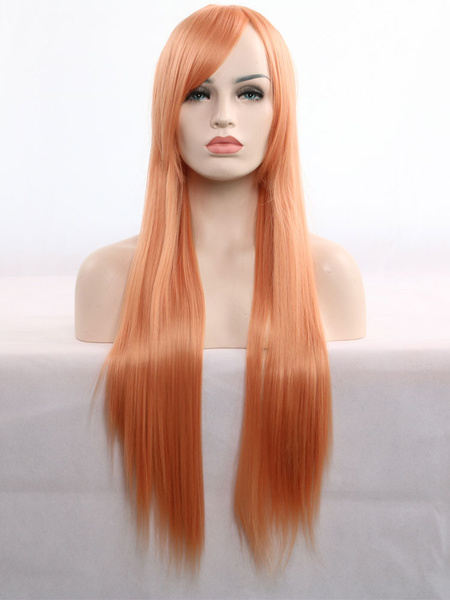Milanoo Carnival Hair Wigs Halloween Hair Wigs Blonde Long Straight Synthetic Wigs With Bangs