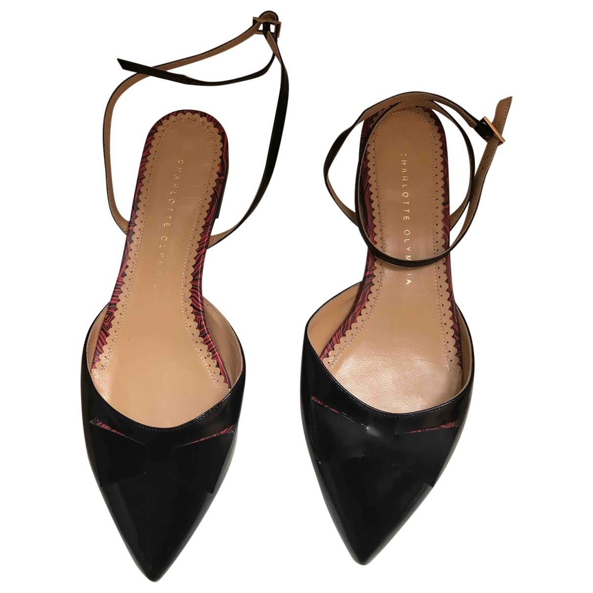 Charlotte Olympia - Sandales   pour femme en cuir verni - noir