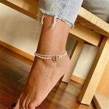2pcs Faux Pearl Beaded Anklet