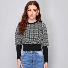 Sweatshirt mit Hahnentritt Muster und Hammelkeuleaermeln