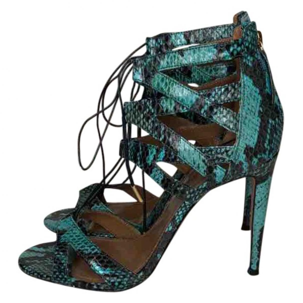 Aquazzura - Sandales   pour femme en cuir exotique - bleu