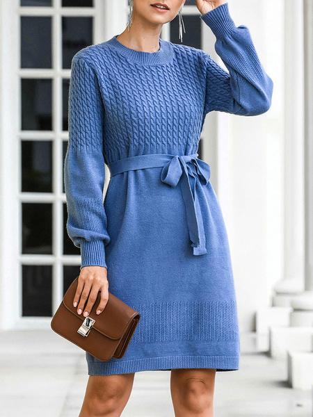 Milanoo Vestido de punto para mujer Vestidos de sueter con cordones de manga larga con cuello joya azul