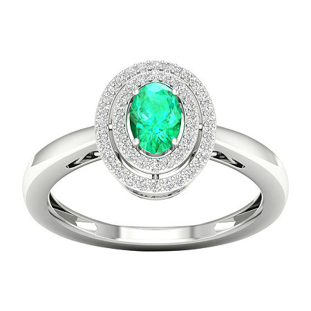Womens 1/6 CT. T.W. Genuine Green Emerald 10K Gold Cocktail Ring, 7 1/2 , No Color Family