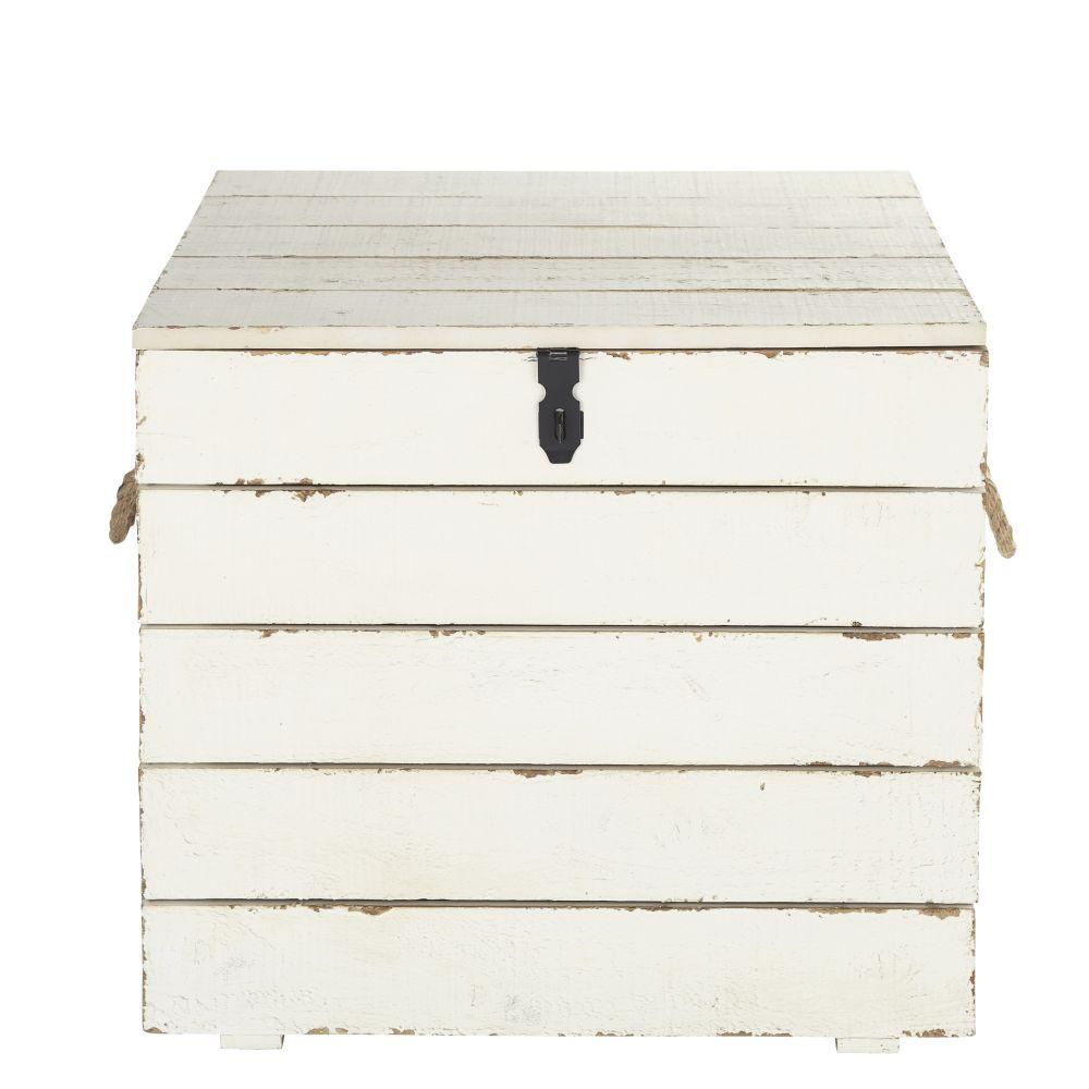 Koffer aus geschnitztem Tannenholz in Antikoptik, weiss