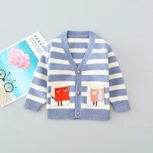 Toddler Girls Cartoon Graphic Pocket Striped Cardigan