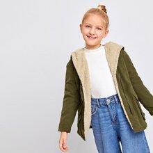 Mantel mit Taschen Klappe, Reissverschlussleiste, Kontrast und Teddy Futter