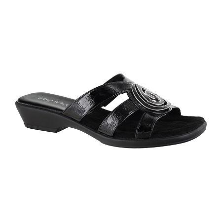 Easy Street Womens Thrive Slide Sandals, 8 Medium, Black