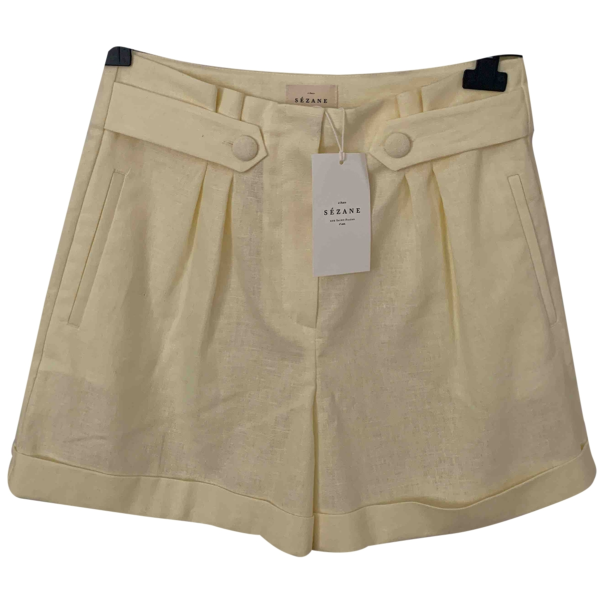 Sézane Spring Summer 2020 Ecru Cotton Shorts for Women 40 FR