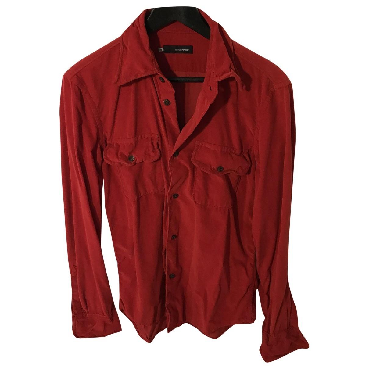 Dsquared2 - Chemises   pour homme en velours - rouge