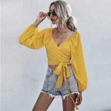 Crop Bluse mit Bluemchen Muster, Wickel Design und Knoten