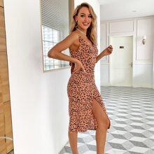Covered Button Slit Hem Tied Backless Dalmatian Dress