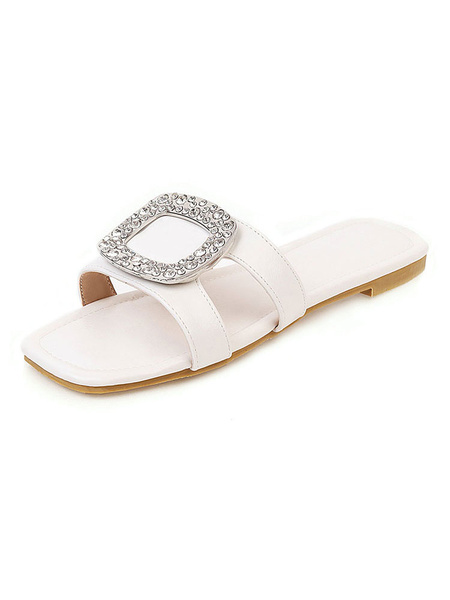 Milanoo Womens Flat Sandals White Open Toe Beach Slippers Shoes