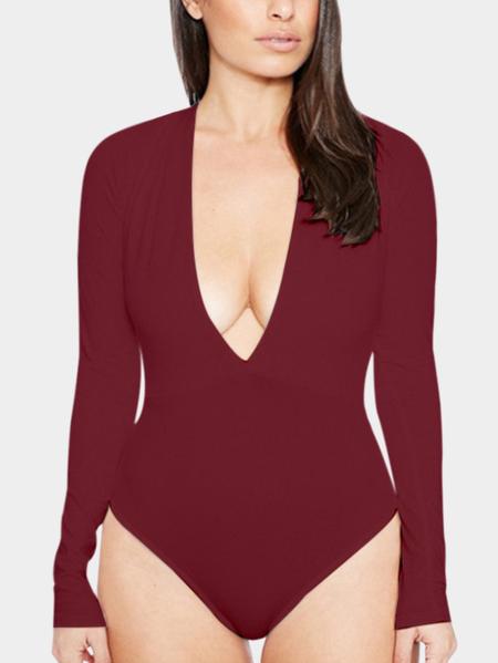 Yoins Burgundy Sexy Bodycon V-neck Long Sleeves Bodysuit