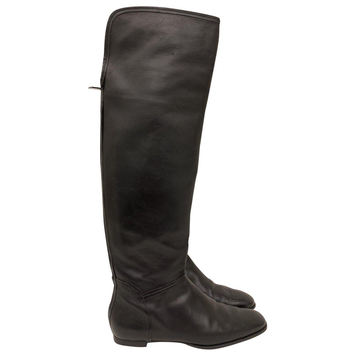 Jimmy Choo Madalie Black Leather Boots for Women 41.5 EU