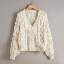 Button Front Cable Knit Cardigan