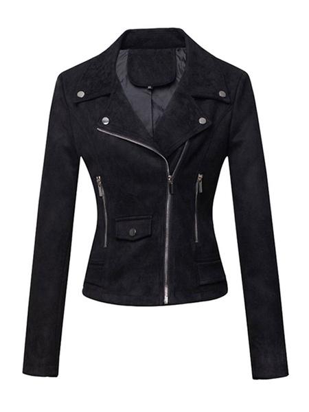 Milanoo Women Motorcycle Jackets Burgundy Turndown Collar Long Sleeve Zip Up Short Jacket