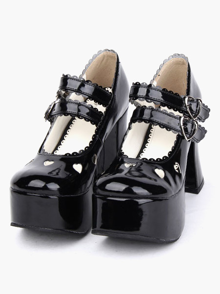 Milanoo Glossy Black Lolita Chunky Heels Shoes Platform Shoes Ankle Straps Buckles Bow Hollow Heart