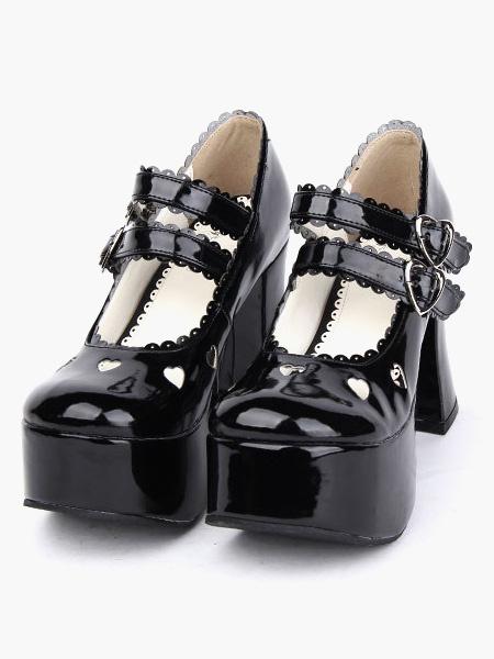 Milanoo Zapatos Lolita Negros Tacones Pony Tirantes de Tobillo Hebilla Lazo