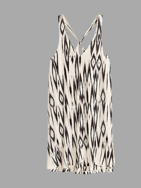 Yoins Obscure Rhombus Pattern Print V-neck Vest Dress