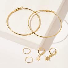 Pendientes largos con diseño de estrella grabada con diamante de imitacion 6 piezas