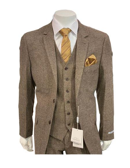 Tweed Herringbone Brown ~ Coffee Herringbone 2 Button Slim Fitted Tapered  Suit Ves