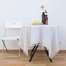Plaid Pattern Tassel Tablecloth