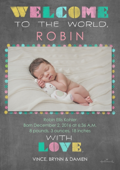 Newborn 5x7 Cards, Premium Cardstock 120lb with Rounded Corners, Card & Stationery -Chalkboard Stenciled Welcome - Pink