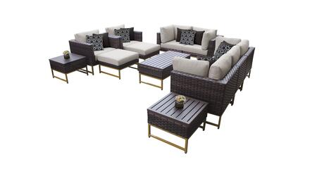 Barcelona BARCELONA-12h-GLD 12-Piece Patio Set 12h with 4 Corner Chairs  2 Club Chairs  1 Armless Chair  1 Coffee Table  2 Ottomans  2 End Tables - 1