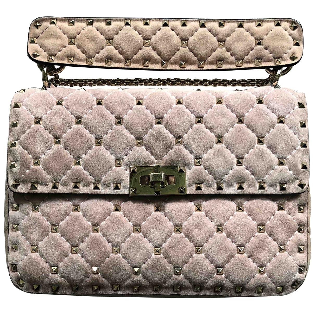 Valentino Garavani Rockstud spike Pink Suede handbag for Women \N