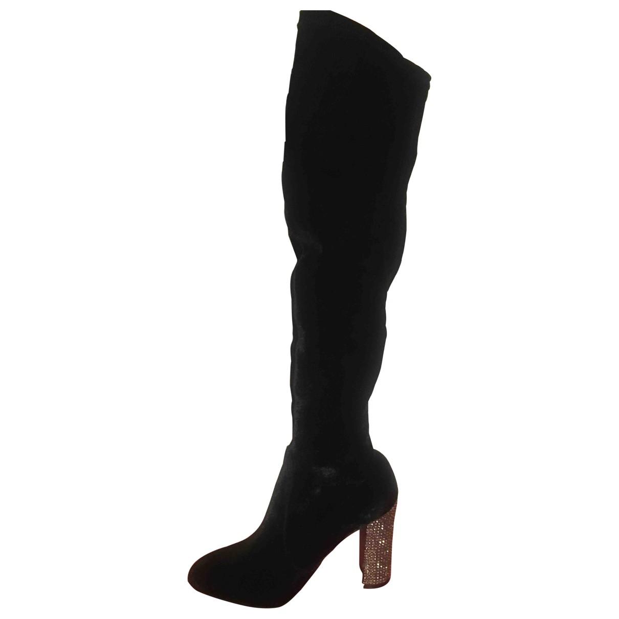 - Bottes   pour femme en velours - noir