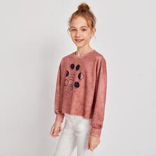 Pullover mit Mond, Buchstaben Grafik und sehr tief angesetzter Schulterpartie