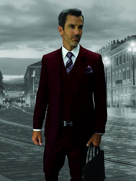 BURGUNDY Statement Plaid Suit