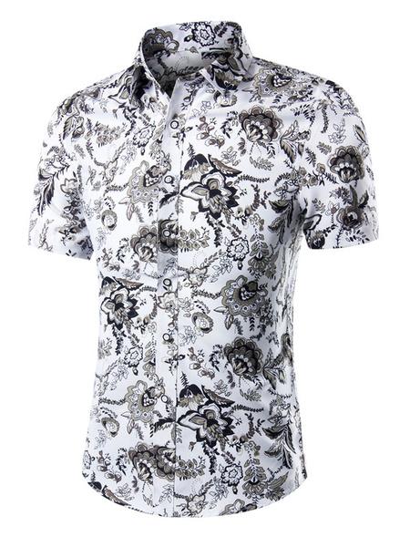 Milanoo Print Shirt Multicolor Chic Short Sleeves Cotton Shirt for Men