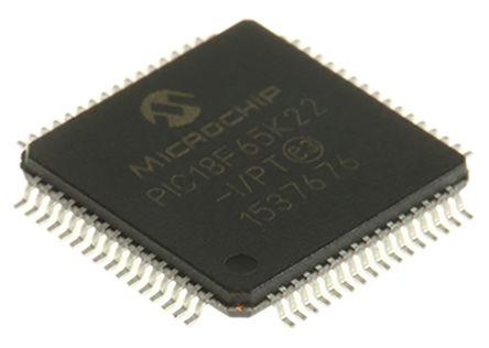 Microchip PIC18F65K22-I/PT, 8bit PIC Microcontroller, PIC18F, 64MHz, 1 kB, 32 kB Flash, 64-Pin TQFP