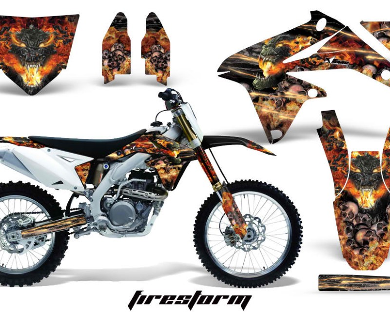 AMR Racing Dirt Bike Decal Graphics Kit Sticker Wrap For Suzuki RMZ450 2008-2017áFIRESTORM BLACK
