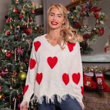 Christmas Heart Pattern Distressed Hem Sweater